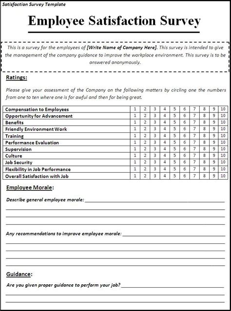 satisfaction survey template employee satisfaction