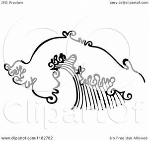 Clipart of a Black and White Ocean Wave - Royalty Free ...