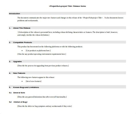 Release Notes Template  14+ Free Word, Pdf Documents