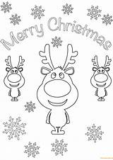 Coloring Christmas Merry Card Pages Cards Cartoon Printable Reindeer Santa Reindeers Holidays Print Sheets Animal sketch template