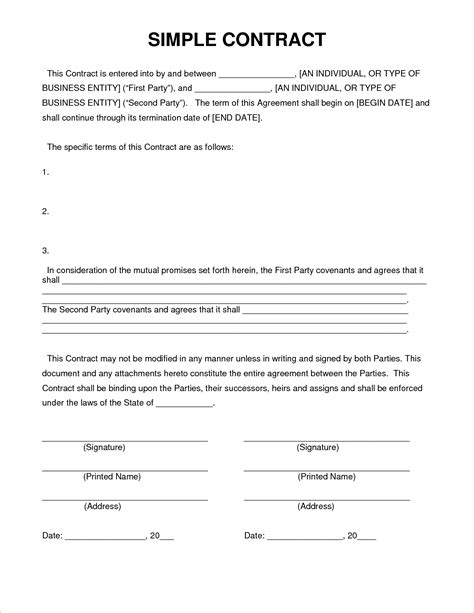 contract template 4 simple contract templatereport template document report template