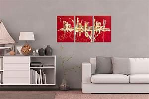 triptyque abstrait rouge panoramique designtableaux With couleur peinture moderne pour salon 15 tableau moderne grand format rectangle gristableau
