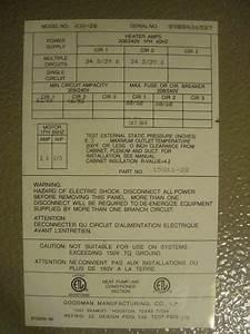 Goodman Air Handler A36-20   Not Hot Enuff