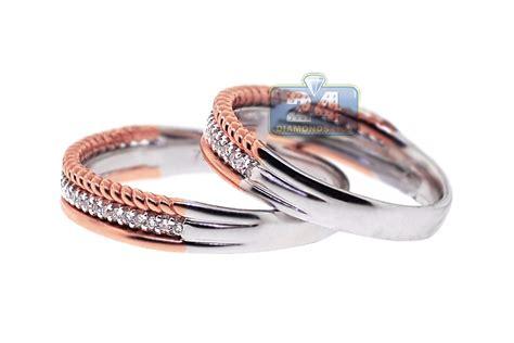 diamond wedding rings his her vintage set 18k two tone gold