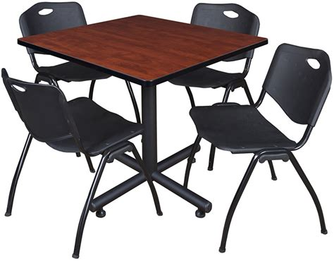 42 square laminate breakroom table with 4 m