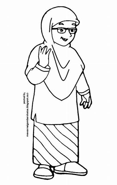 Gambar Mewarnai Anak Muslimah Ibu Kartun Sketsa