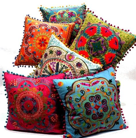 bohemian square floor pillows embroidered botanical square pillow eclectic