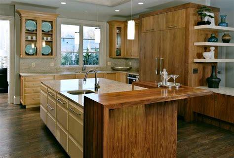 kitchen island with bar top custom walnut wood countertop waterfall in mclean virginia 8236