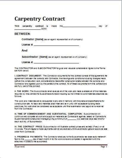 sample carpentry contract template  ms word document hub