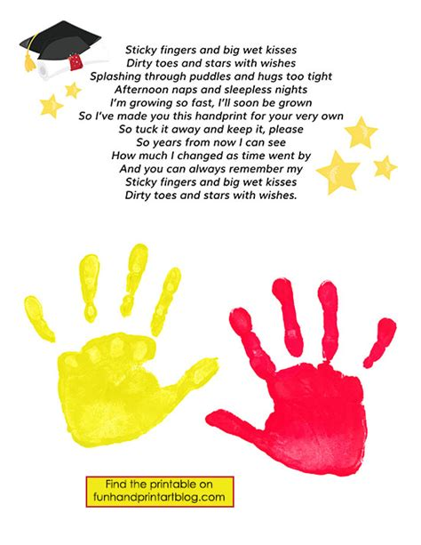 preschool graduation poem keepsake graduation poem with handprints handprint 696
