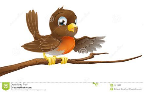 Robin Bird On Branch Pointing Royalty Free Stock Photo