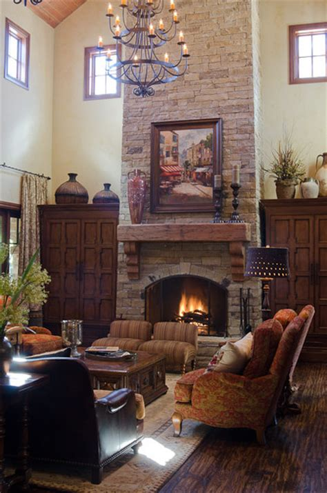 texas hill country style traditional living room