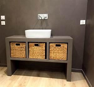 mobilier en beton cire vasque table pieds meuble With salle de bain design avec décoration années folles
