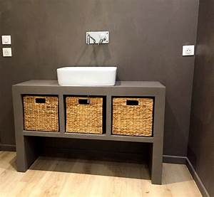 mobilier en beton cire vasque table pieds meuble With salle de bain design avec décoration de tables