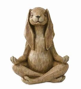 Meditating Rabbit Statue in Garden Statues