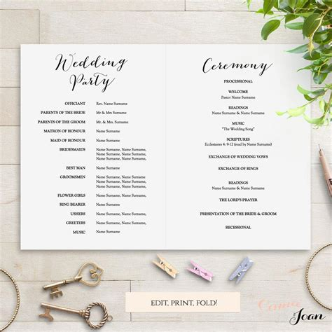 sweet bomb printable folded wedding order of service