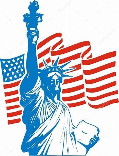 Usa Freedom Clipart Statue Flag Vector Illustration