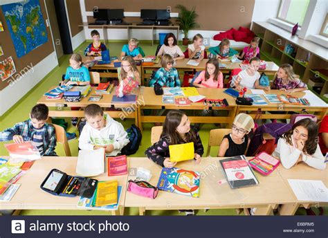 Children Sitting In An Elementary School Class During A