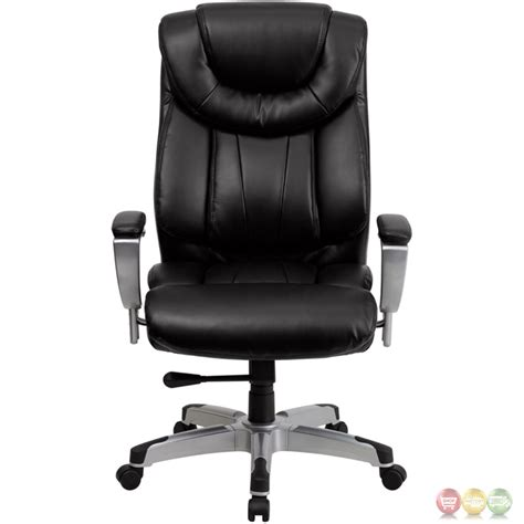 hercules big black leather swivel office chair w