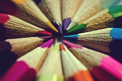 Close Background Screen Colored Crayons Flowers Wallpapers