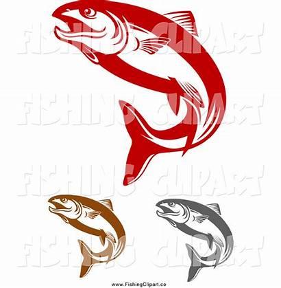 Salmon Fish Clip Jumping Clipart Gray Brown