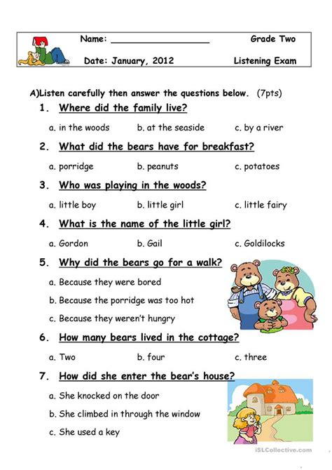 listening exam worksheet  esl printable worksheets