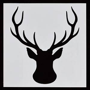 Christmas Card Outline Reusable Stencil Stag Head 1pc
