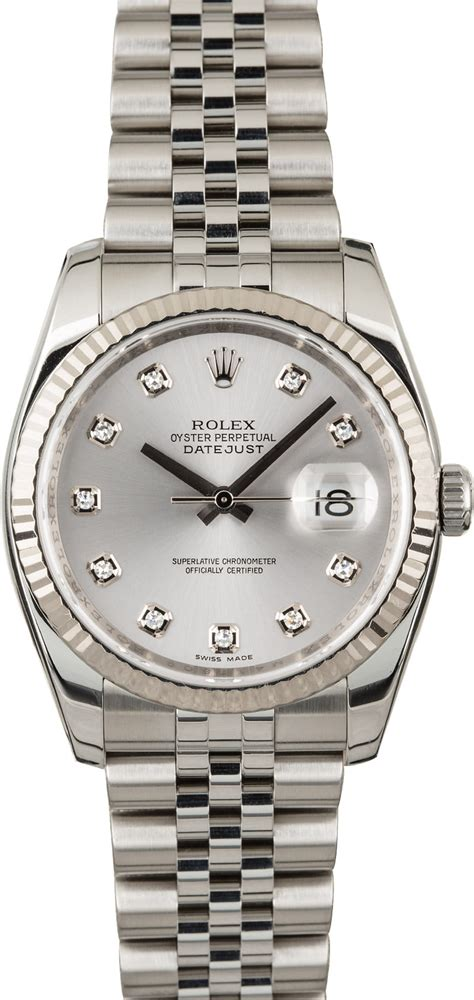 Used Rolex Datejust 116234 Silver Diamond Dial