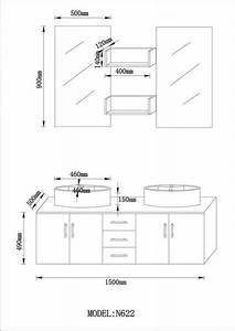 Dimension Vasque Salle De Bain : f double vasque 150 cm 598 eu meubles de salle de bain ~ Nature-et-papiers.com Idées de Décoration