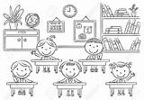 Classroom Clipart Coloring Pages sketch template