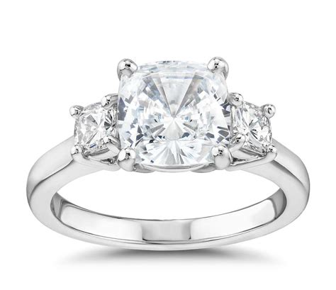 the gallery collection cushion cut three stone diamond engagement ring in platinum blue nile