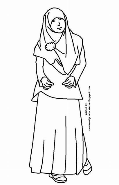 Gambar Mewarnai Princess Muslimah Wanita Kartun Coloring