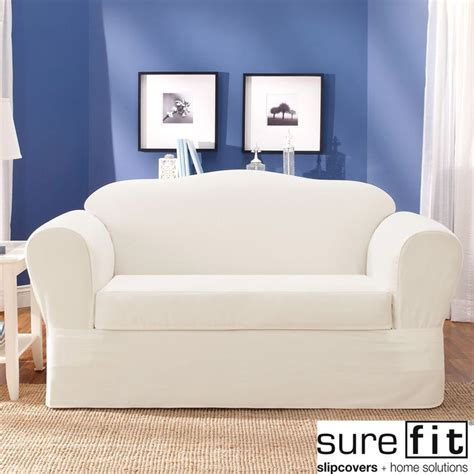 Sure Fit Sofa Slipcover White by Sure Fit Twill Supreme 2 Loveseat Slipcover