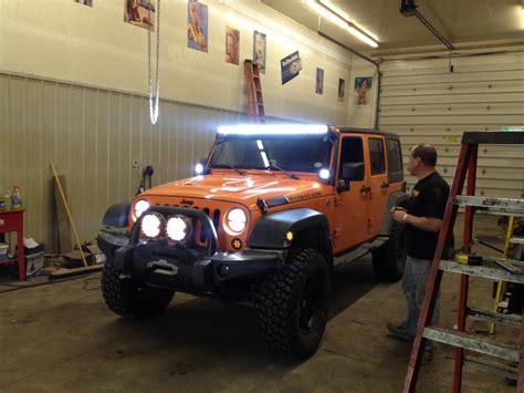 jeep light bar at night 50 straight led light bar 480w dust runners lighting