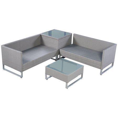 Wicker Sofa Cushion by Costway 4pcs Gray Rattan Wicker Patio Sofa Cushion Seat