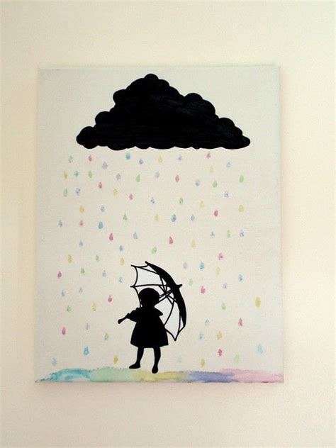 silhouette rain cloud canvas art    silhouette