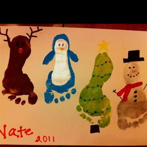 christmas footprint painting christmas crafts pinterest