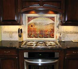tile backsplash for kitchens sunflower kitchen decor tile murals western backsplash of sunflowers