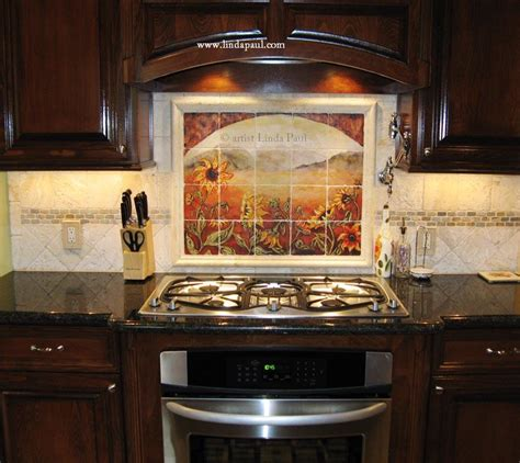 kitchen tile backsplash designs sunflower kitchen decor tile murals backsplash