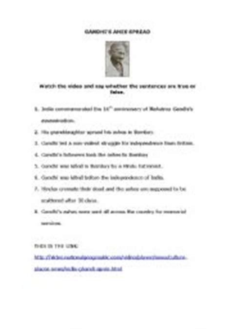 teaching worksheets gandhi