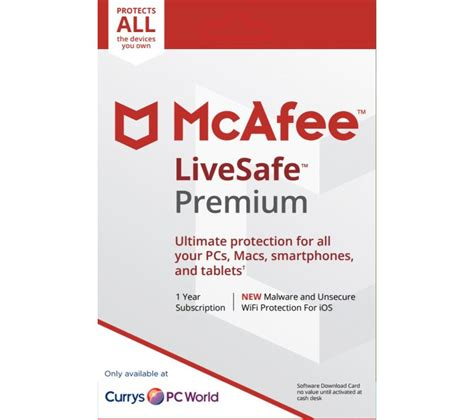 mcafee mobile security key mcafee livesafe premium 2018 1 year for unlimited
