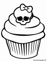 Coloring Cupcake Monster Skullette Pages Printable sketch template