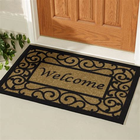 doormat for doors ottomanson welcome beige 20 in x 30 in non slip door mat