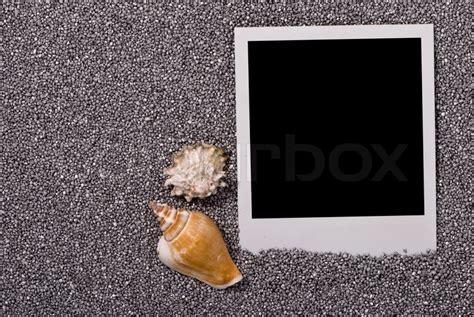 Bilderrahmen Mit Muscheln Auf Silbernem Sand Hintergrund