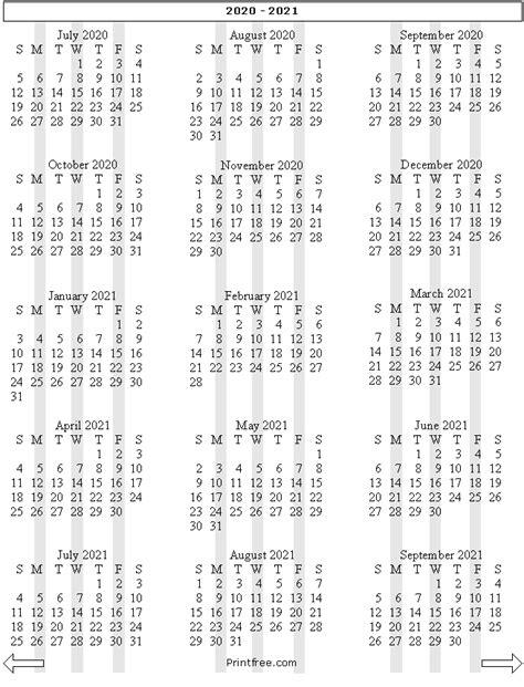 month school year calendar