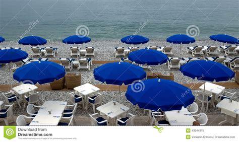 City Of Nice Beach With Umbrellas Stock Photo Image