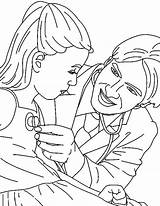 Coloring Doctor Stethoscope Check Doing Button Easy Pages Printable Getcolorings Grab Sun Getdrawings Utilising Paper sketch template