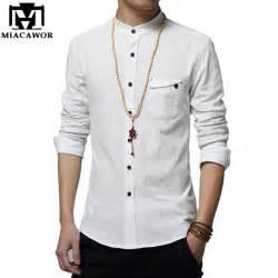stand collar plain jacket aliexpress buy miacawor cotton linen shirt new