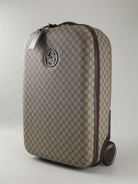 gucci signature monogram luggage  gray lyst