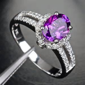 engagement rings with purple diamonds purple amethyst 14k white gold 27ct engagement ring yourgem jewelry on artfire